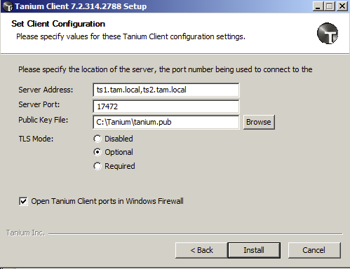 Deploying the Tanium Client to Windows endpoints
